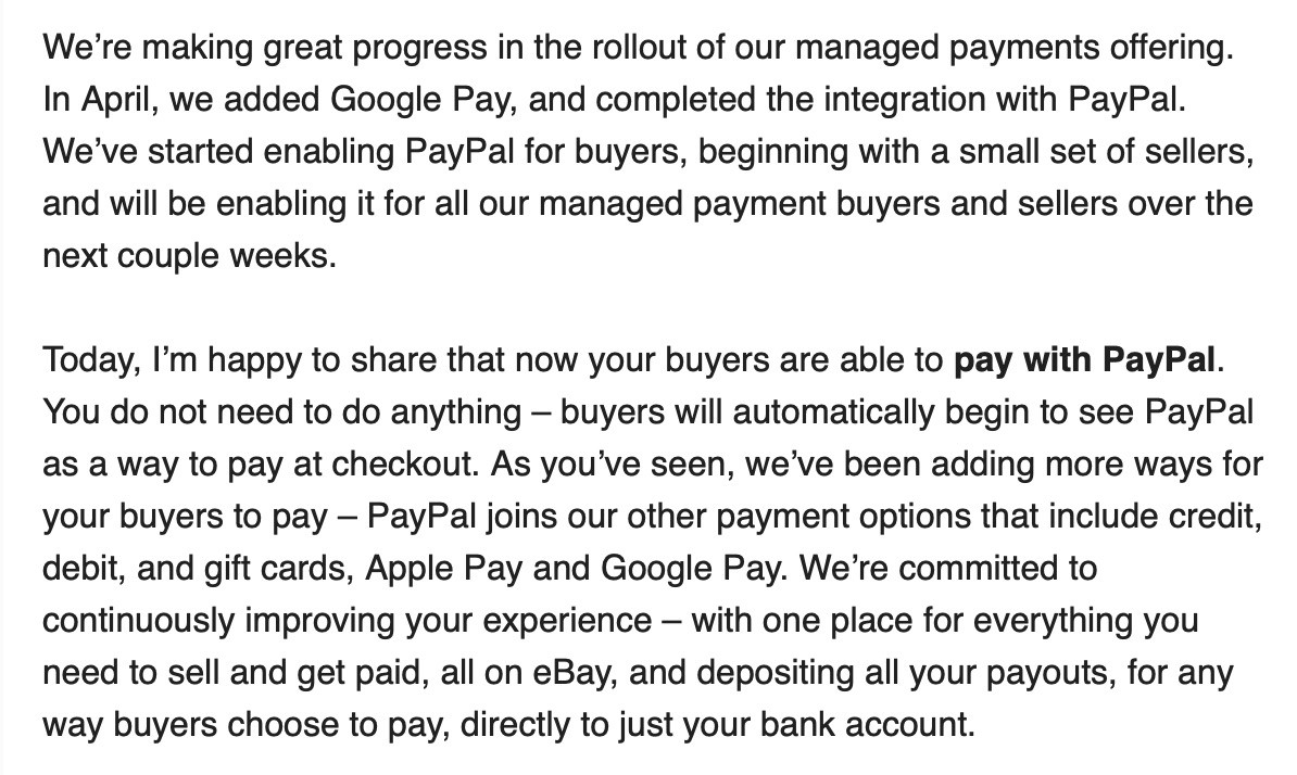 eBay Managed Payments - transition away from PayPal transition away